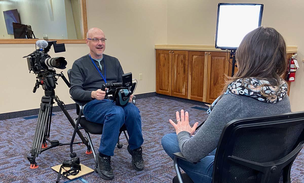 David interviewing on set